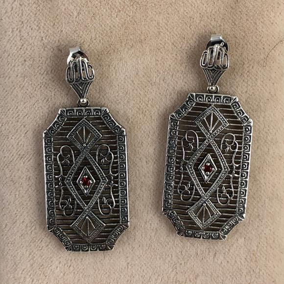 Gem Emporium Jewelry - Fire Garnet 925 Sterling Silver  Filigree Earrings